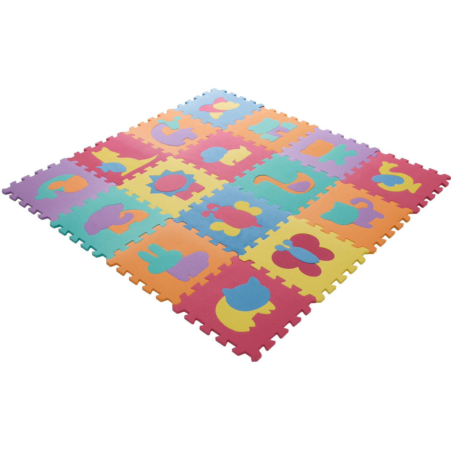 Interlocking Foam Tile Play Mat with Animals - Nontoxic Children's Multicolor Puzzle Tiles for Playrooms, Nurseries, Gyms and More by Hey! Play!