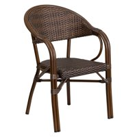 Flash Furniture Milano Series Cocoa Rattan Restaurant Patio Chair with Bamboo-Aluminum Frame by Flash Furniture