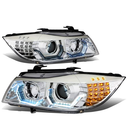 For 06-08 BMW E90 3-Series 3D LED Halo Angle Eye Projector Headlight Chrome Housing Headlamp 07 2007 Sedan 325I 325XI 328I 330I