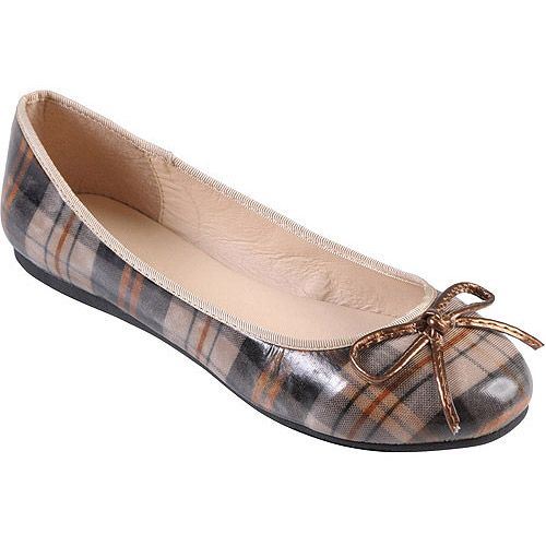 Brinley Co Round Women's Toe Bow Accent Flats