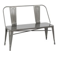Oregon Industrial Metal Dining/Entryway Bench in Clear Brushed Silver by LumiSource