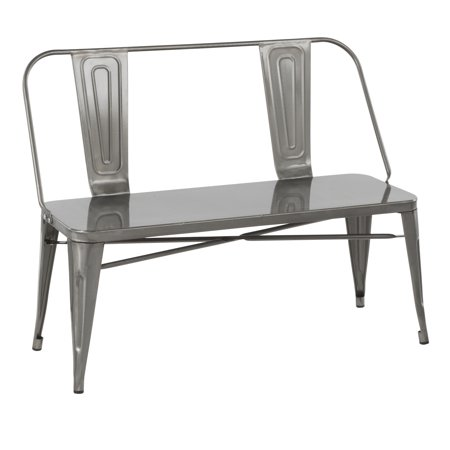Clara Bench - Oregon Industrial Metal Dining/Entryway Bench in Clear Brushed Silver by LumiSource