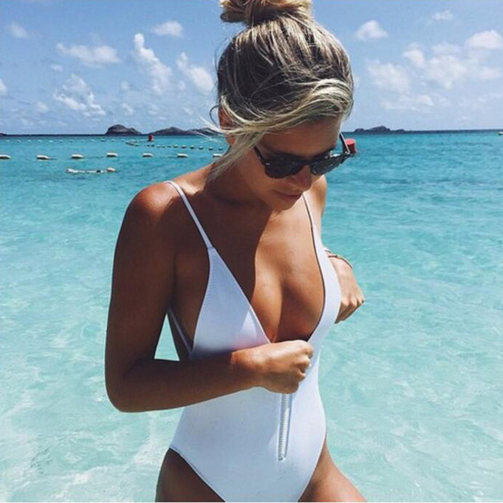 Women One Piece Bikini Monokini Zipper Backless Swimwear Swimsuit Jumpsuit