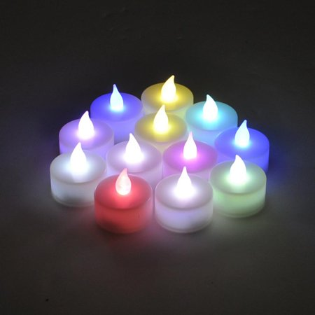Instapark LCL-C-12 Battery-powered Flameless Pet-safe and Child-safe Wind-proof Indoor & Outdoor Decoration Color-changing LED Faux Accent Tea Light Candles, 1-Dozen per Pack