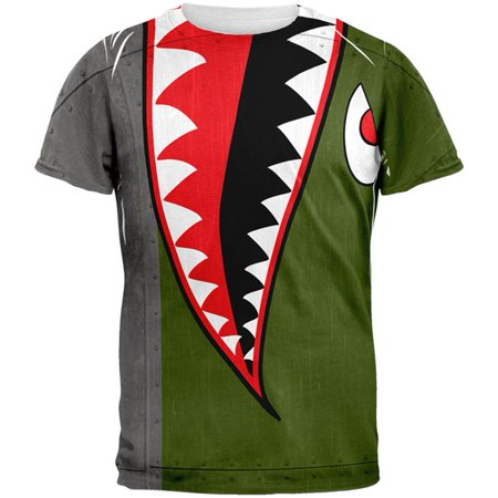 Halloween WWII Flying Tiger Fighter Shark Nose Art All Over Mens T - Halloween Shrek