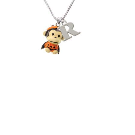 Resin Monkey in Pumpkin Costume Capital Initial R Necklace - Capitol Costume