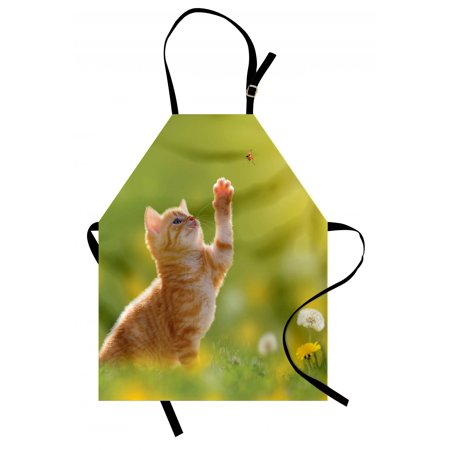 Cat Apron Animal Theme Cat Hunting a Ladybug Nature Grass Dandelions Digital Print, Unisex Kitchen Bib Apron with Adjustable Neck for Cooking Baking Gardening, Earth Yellow Pale Green, by Ambesonne
