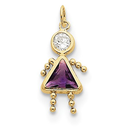 February Birthstone Girl Charm (10k Yellow Gold February Girl Birthstone)