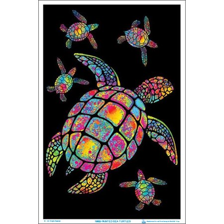 Painted Sea Turtles Black Light Poster 23 x 35