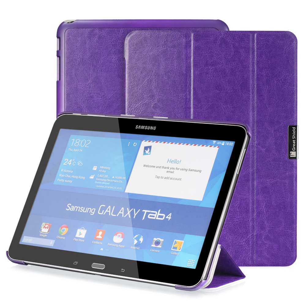 GreatShield [SLEEK] Smart Cover Slim Leather Snap On Back Case with Stand & Sleep / Wake Function for Samsung Galaxy Tab 4 IV 10.1 inch Tablet (Purple)