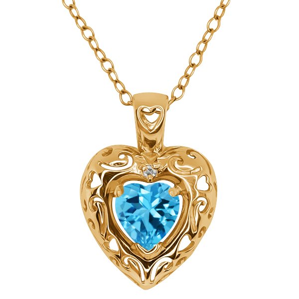 1.02 Ct Heart Shape Swiss Blue Topaz Gold Plated Sterling Silver Pendant