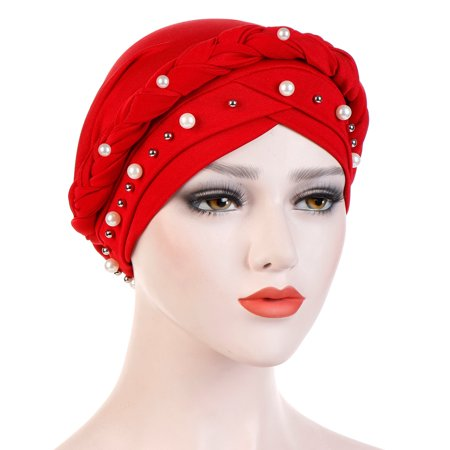 Beaded Lightweight Hat (Outtop Women Beading India Hat Muslim Ruffle Cancer Chemo Beanie Turban Wrap Cap )