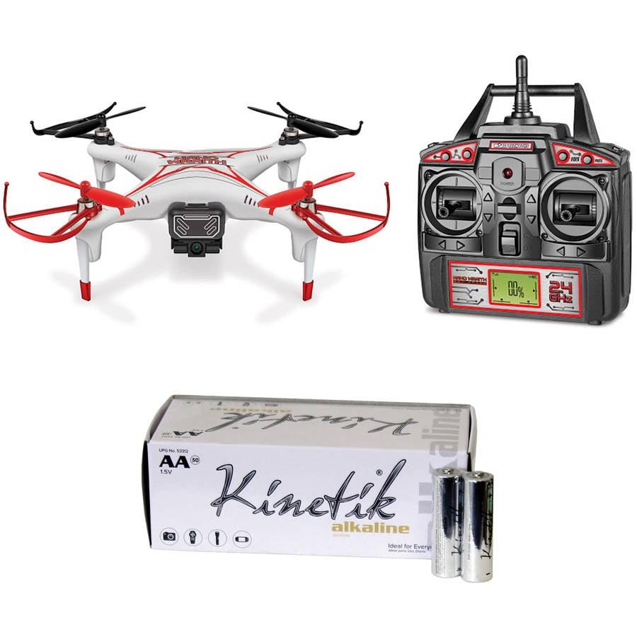 World Tech Elite 33753 2.4GHz 4.5 - Channel Nano Wraith Spy Drone and Kinetik AA Battery Kit, 50 Pack