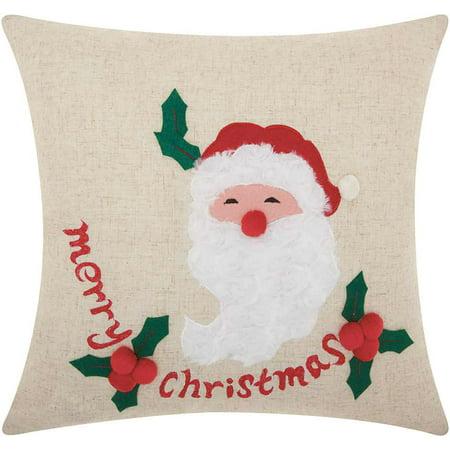 Nourison Home For The Holiday Merry Santa Natural Throw (Santa Throw Pillow)