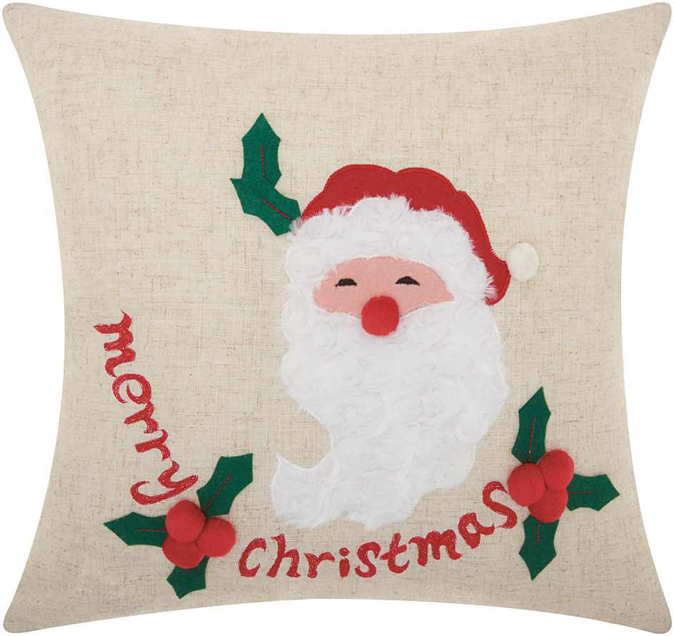 Nourison Home For The Holiday Merry Santa Natural Throw Pillow