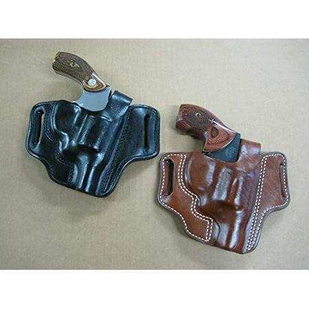 Leather 2 Slot Molded Thumb Break Pancake Leather Revolver Holster for Taurus 85 605 Steel Frame 2
