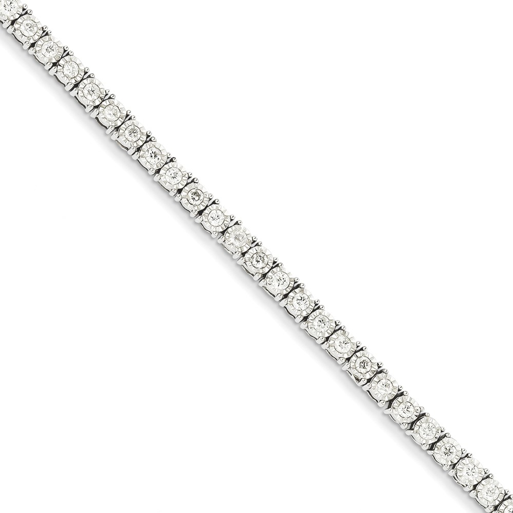 14k White Gold Diamond Tennis Bracelet. Carat Wt- 2ct