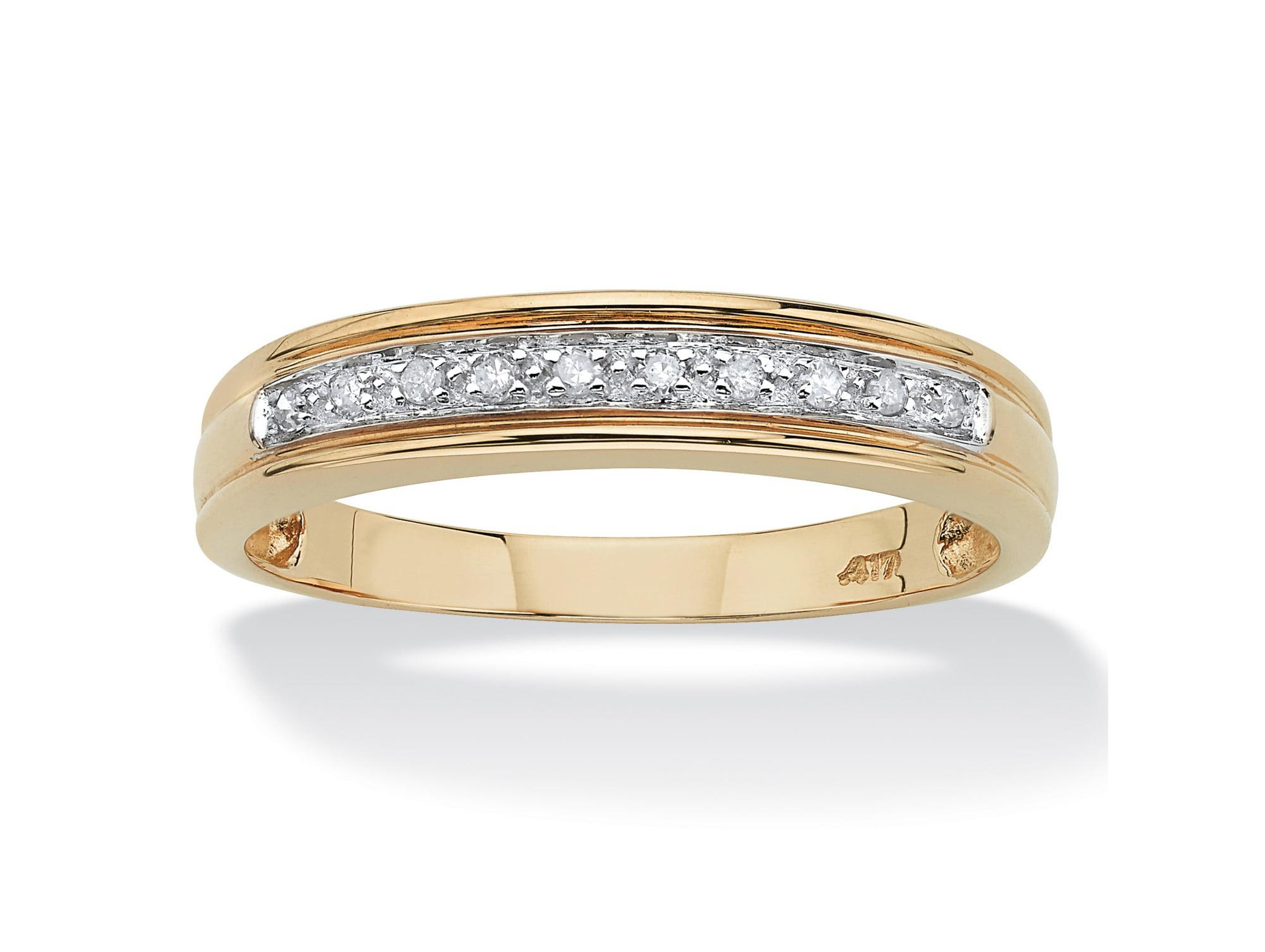 Men's 1 10 TCW Round Diamond 10k Yellow Gold Anniversary Ring Wedding Band by PalmBeach Jewelry