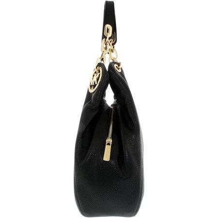 27ffeb6c61217 Michael Kors Women s Large Fulton Shoulder Tote Leather Top-Handle Bag Hobo  - Black ...