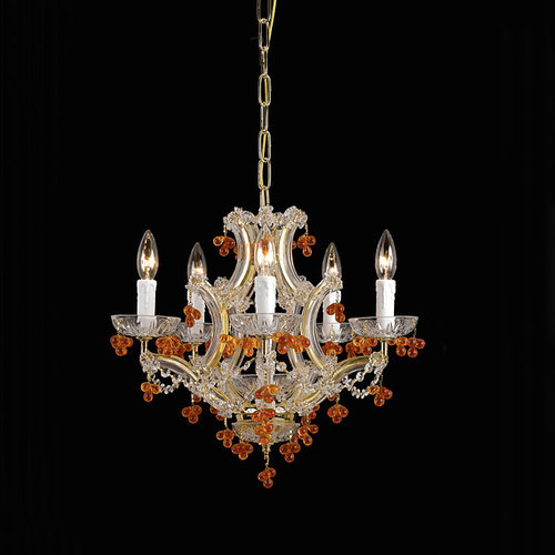 Crystorama 4305-CH-AMBER Five Light Chandelier by Crystorama