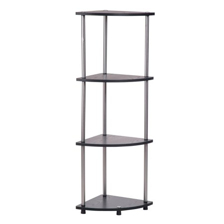 Convenience Concepts Designs2Go No Tools 4 Tier Corner Shelf, Black and Silver