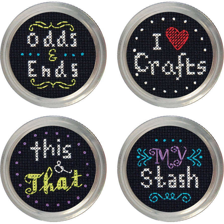 Crafts Jar Topper Counted Cross-Stitch Kit, Set of 4