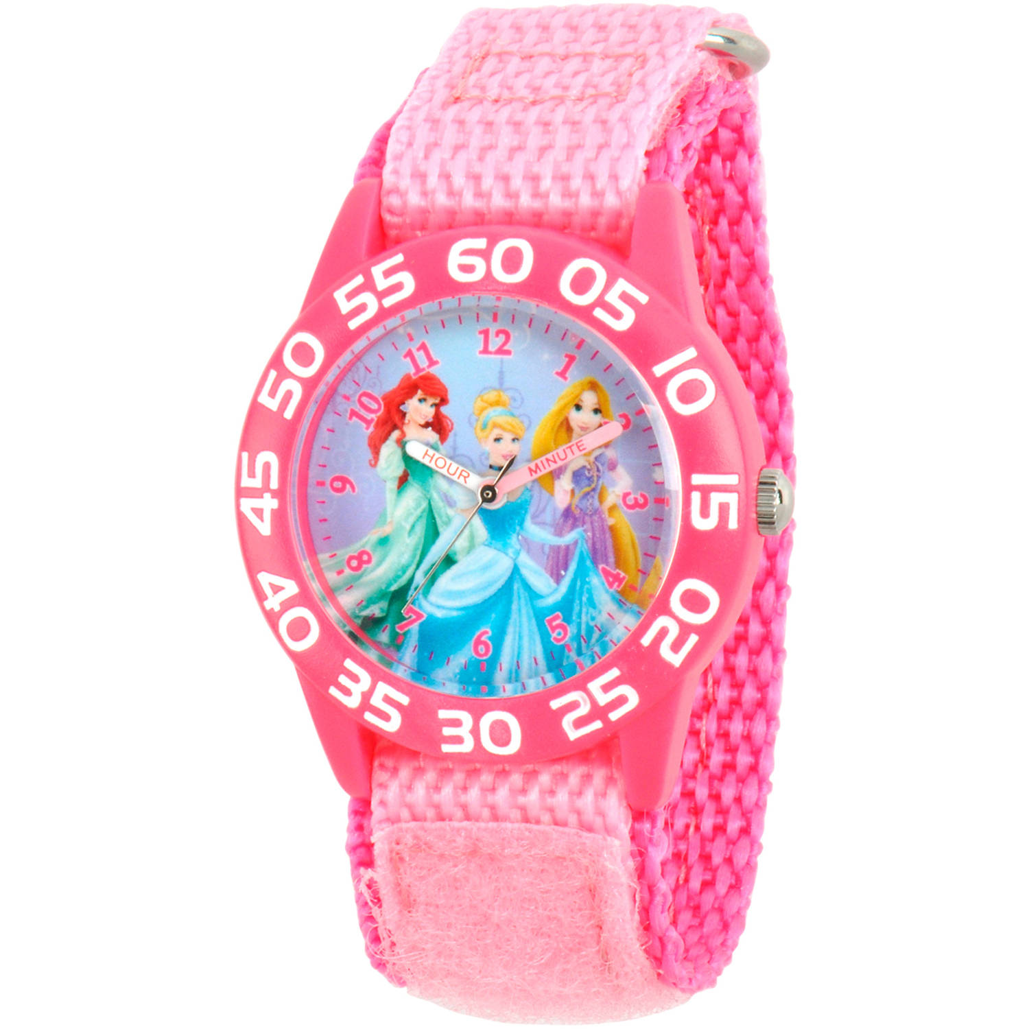 Disney Princess Ariel, Cinderella and Rapunzel Girls' Pink Plastic Time Teacher Watch, Pink Nylon Strap