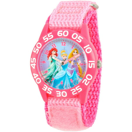 Disney Girls Collection Watch (Princess Ariel, Cinderella and Rapunzel Girls' Pink Plastic Time Teacher Watch, Pink Nylon Strap )