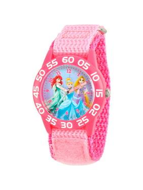Princess Ariel, Cinderella and Rapunzel Girls' Pink Plastic Time Teacher Watch, Pink Nylon Strap