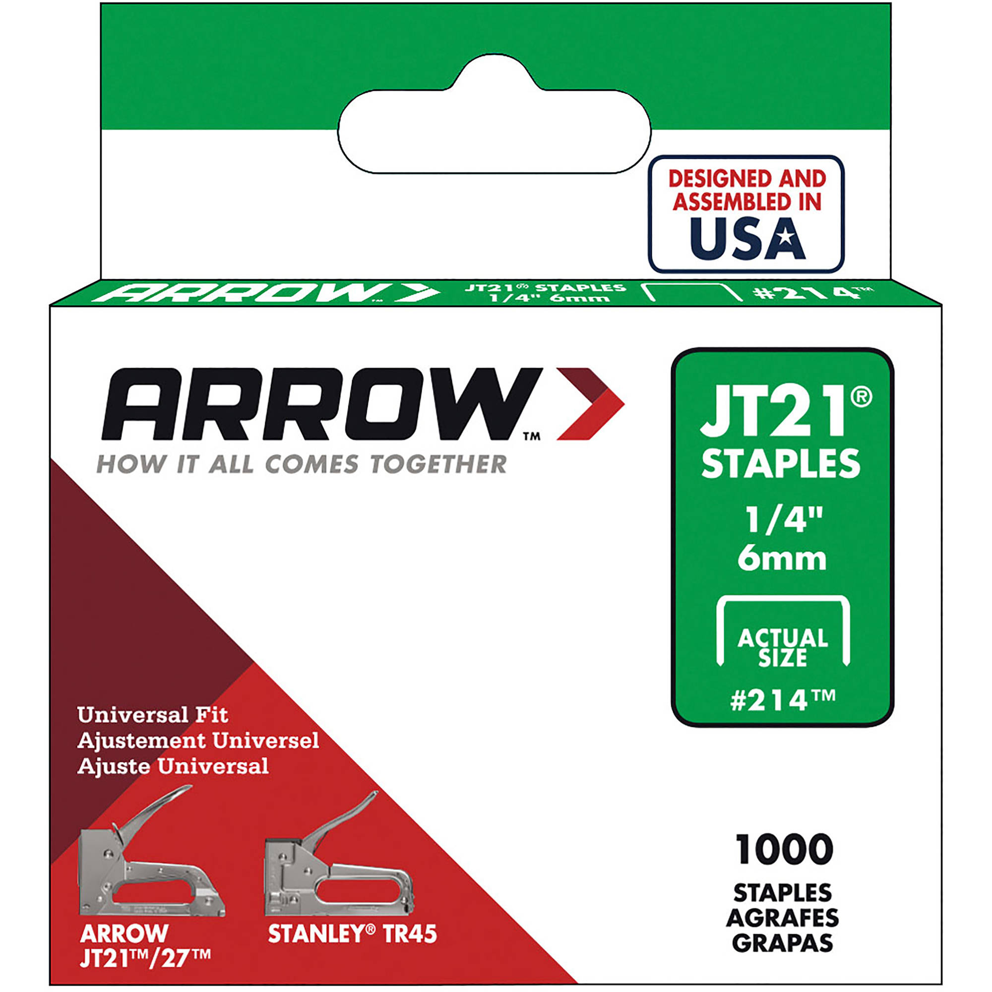 "arrow fastener jt21 1 4"" staples walmart"