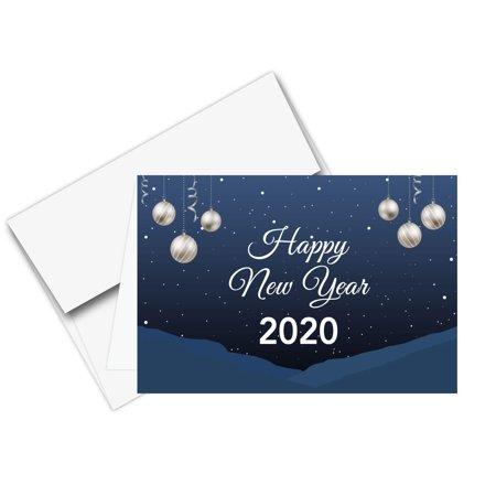 2020 Happy New Year – Blue Holiday Greetings Fold Over Cards & Envelopes, for Christmas and New Yrs Gifts and Presents   25 Cards and 25 Envelopes per Pack   5 x 7