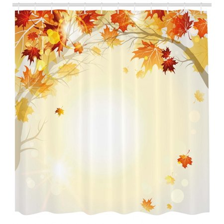 - Fall Shower Curtain, Soft Image of Faded Shedding Fall Leaves from Tree Motion in Nature Concept Print, Fabric Bathroom Set with Hooks, Multicolor, by Ambesonne