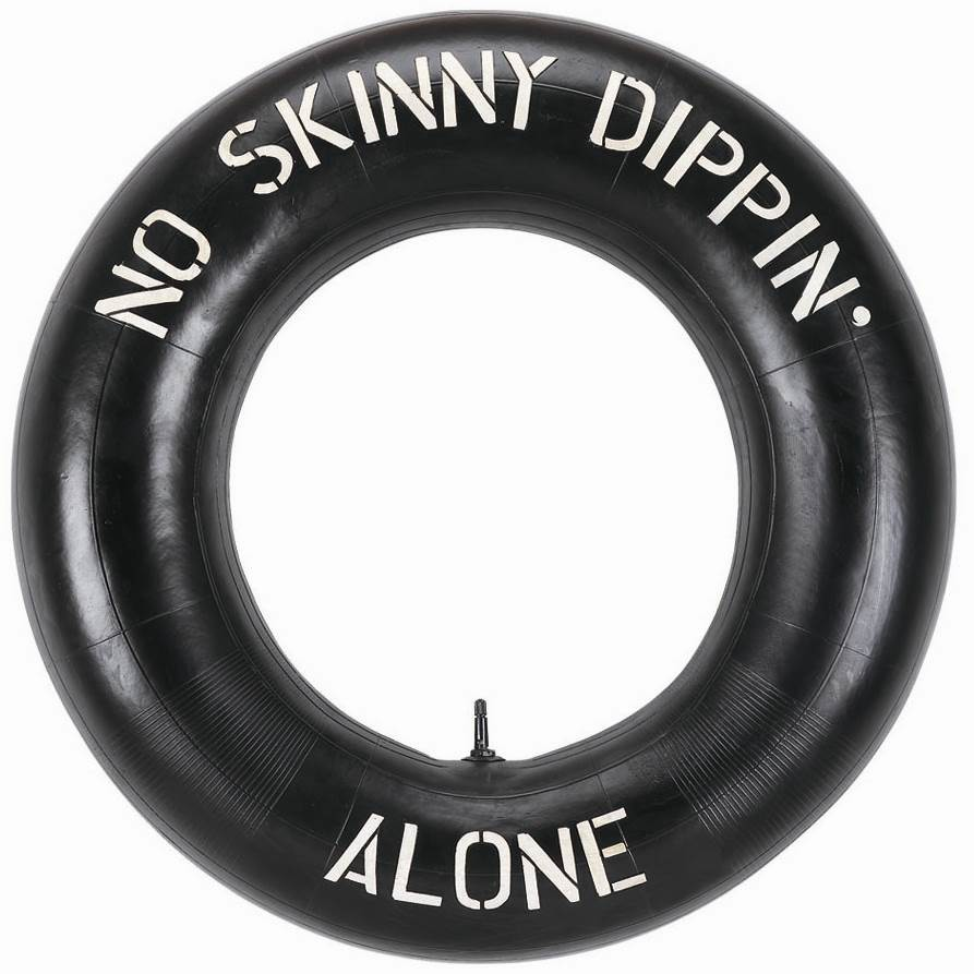 27 in. W Outdoor No Skinny Dipping Tire Sign