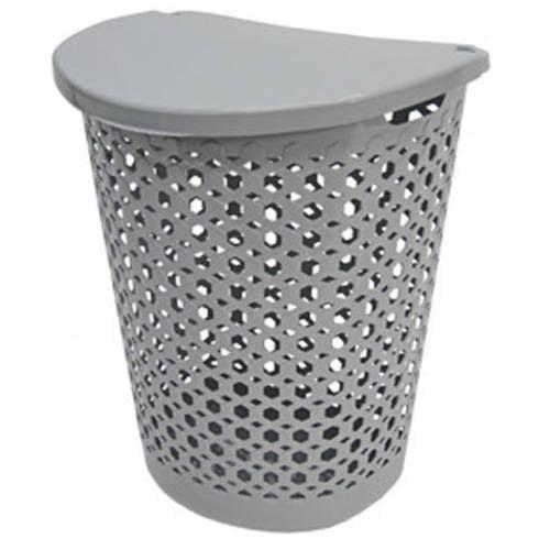 Home Logic 1.8-Bu Large Capacity Linked Impressions 3D Textured Lidded Laundry Hamper, Hi-Rise Grey