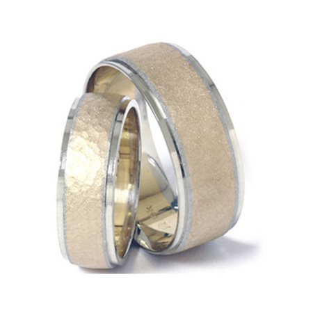 14K Gold Matching Two Tone Hammered Wedding Band Set