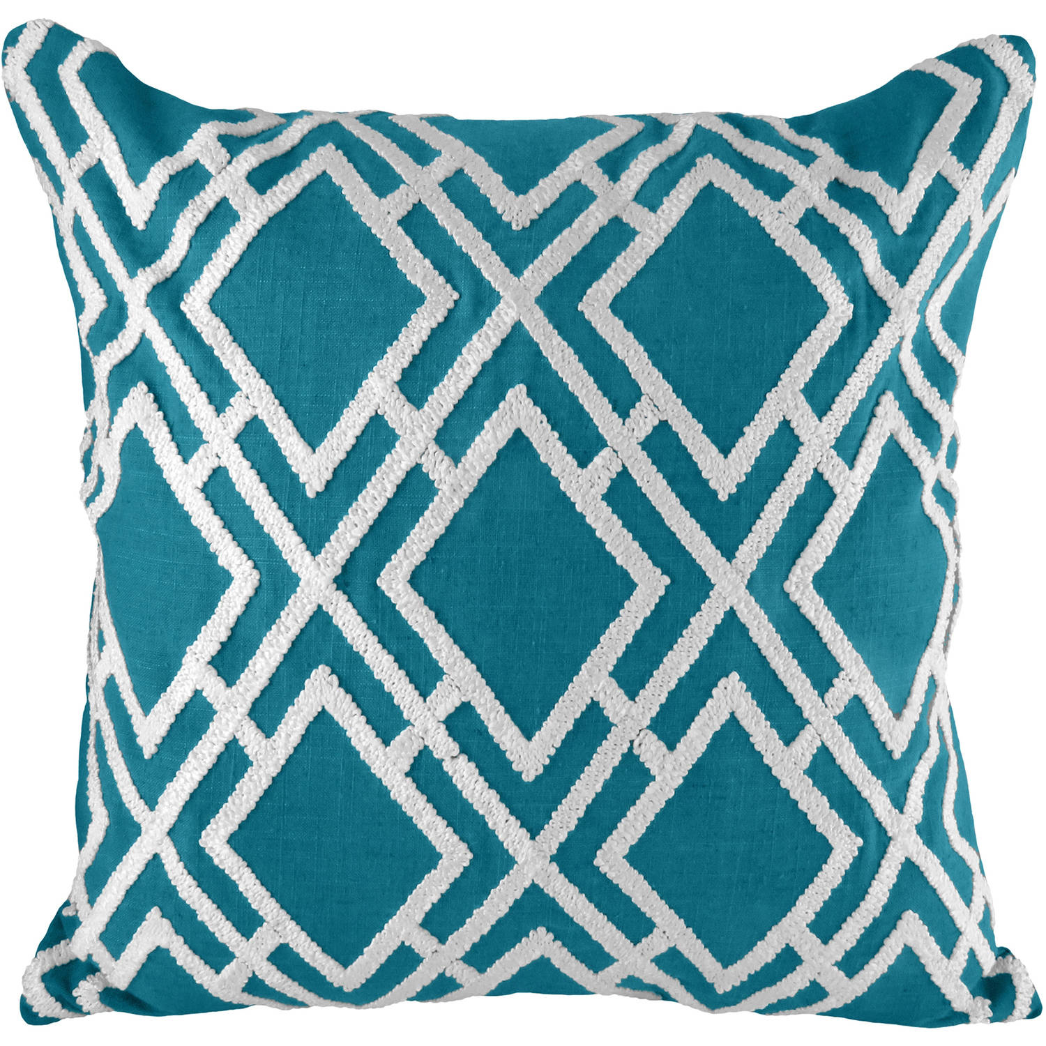 Better Homes and Gardens Diamond Trellis Embroidery Decorative Toss Pillow
