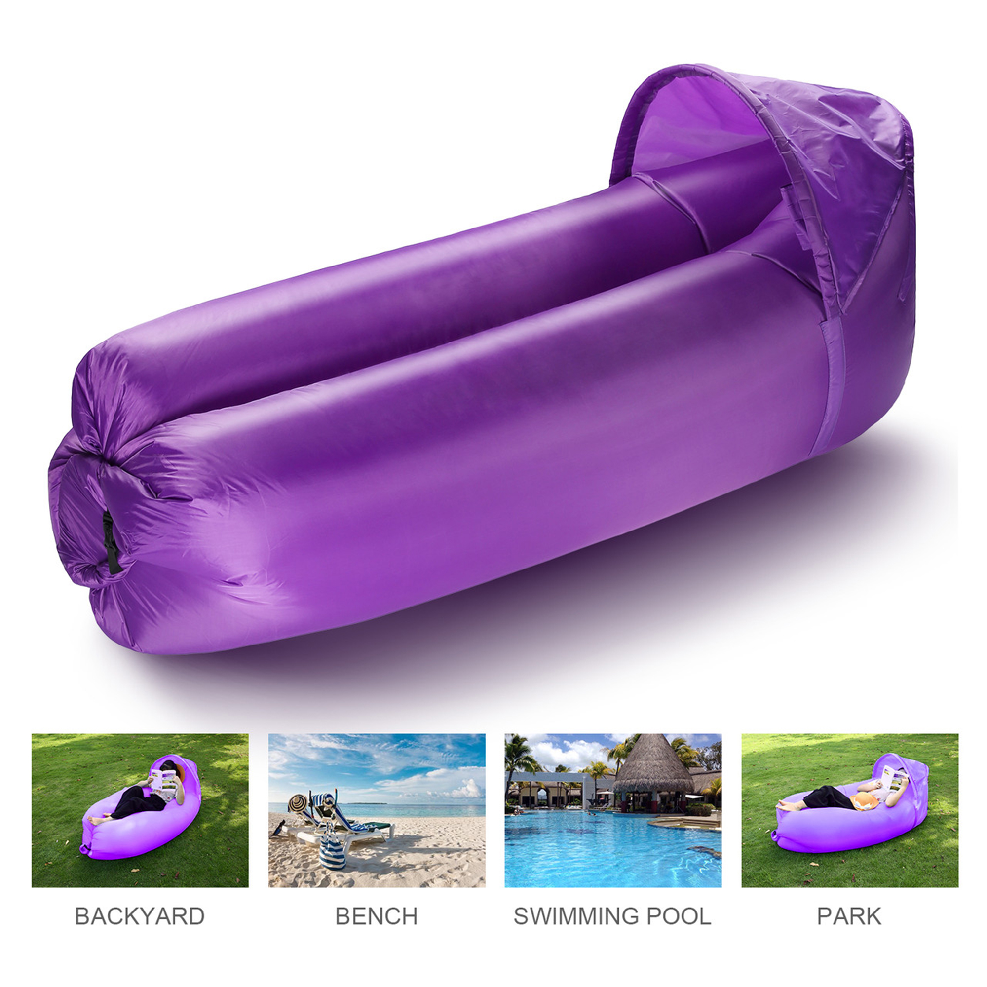 isYoung Outdoor Camping Inflatable Lounger Sofa Sleeping Bag Beach Hangout Lazy Air Sofa Portable Bed