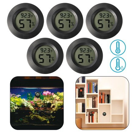 5/2/1Pcs Hygrometer Thermometer, EEEKit Mini LCD Digital Thermometer Hygrometer Indoor Outdoor Temperature Humidity Meter Detector Round Tester, Black ()