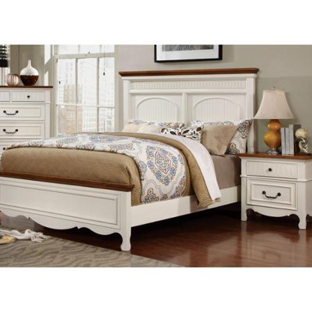 Furniture Of America Ophelie Cottage Style 2 Piece White Platform Bed And Nightstand Set