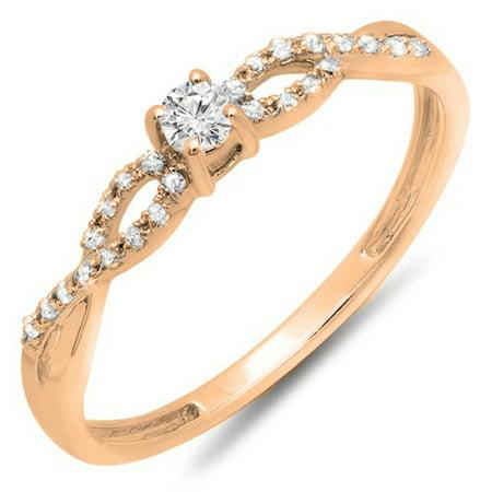 Dazzlingrock Collection 0.20 Carat (ctw) 10K Round Diamond Bridal Engagement Ring 1/5 CT, Rose Gold, Size 7.5