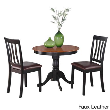 East west furniture black round kitchen table plus 2 for 3 piece dining room