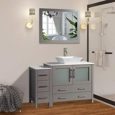 Vanity Art 48 Inch Single Sink Bathroom Vanity Combo Set - Modern Storage Cabinet Solid Wood Quartz Top with Ceramic Vessel Sink & Free Mirror Solis Wood Vanity Cabinet