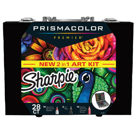 Sharpie and Prismacolor Coloring Kit with Permanent Markers, Art Pens and Colored Pencils, 28