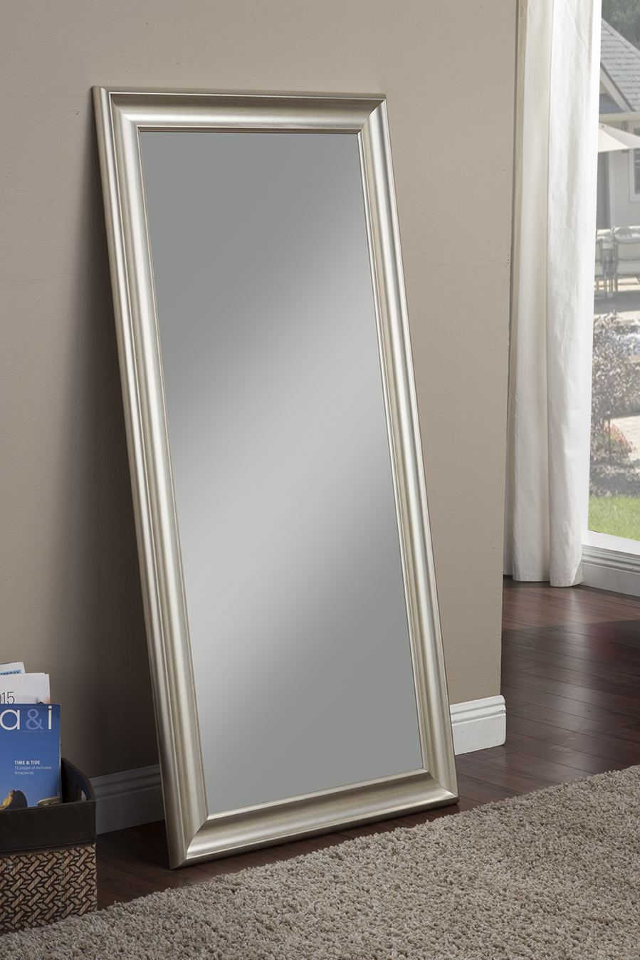 Champagne Silver Full Length Leaner Mirror by Sandberg Furniture
