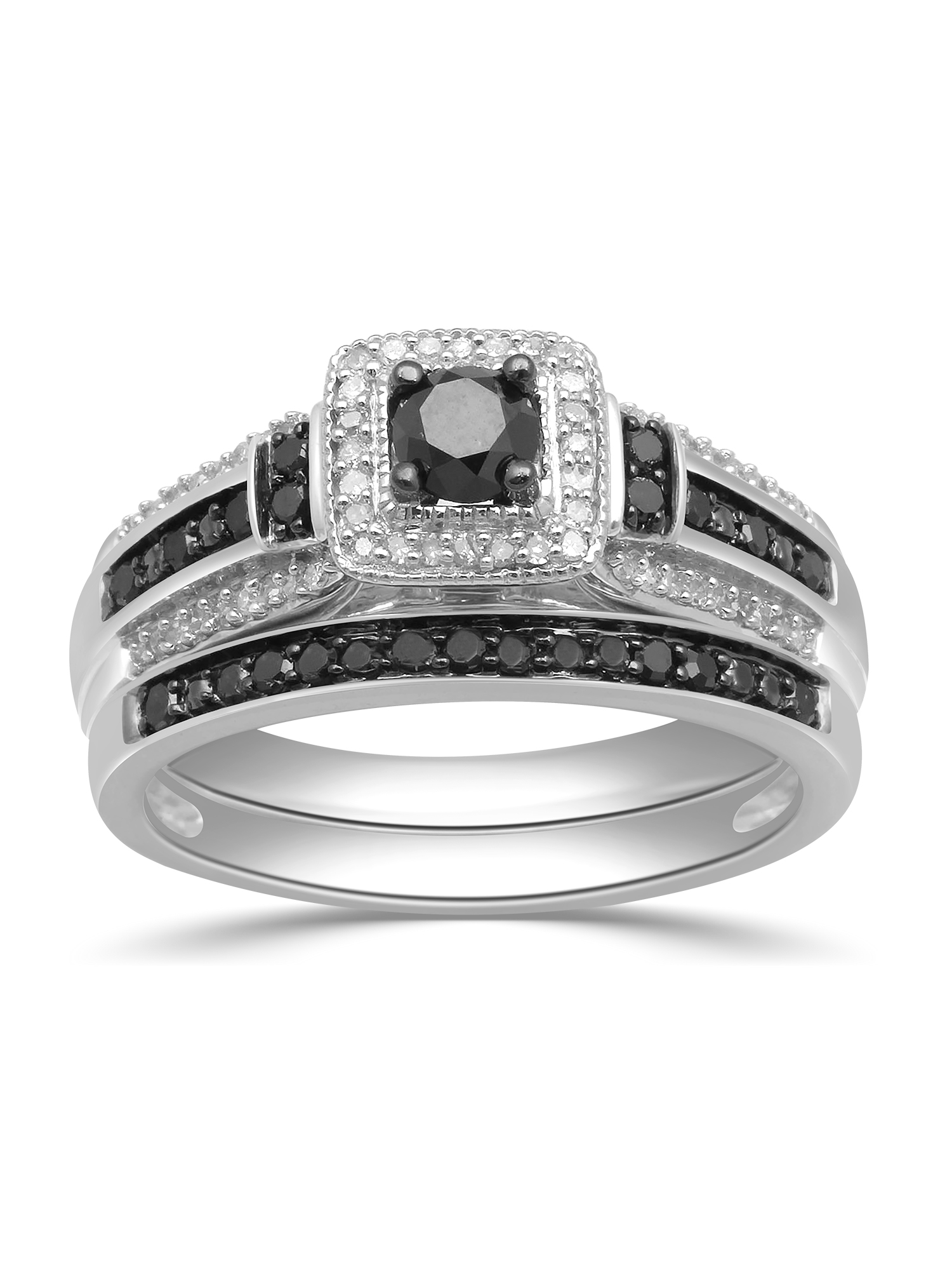 1 2ct. T.W. Black and White Diamond Sterling Silver Bridal Set by Verigold