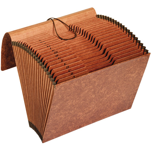Globe-Weis Accordion Files with Flap, 21 Pockets, 1/3 Tab, Letter - Brown