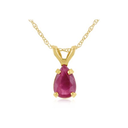 .60ct Pear Shaped Ruby Pendant in 14k Yellow Gold Pear Shaped Ruby Necklace