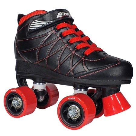 Lenexa Hoopla Kids Roller Skates for Kids Children - Girls and Boys - Kids Rollerskates - Childrens Quad Derby Roller Skate for Youths Boy/Girl - Kids Skates (Black w/Red Wheels)