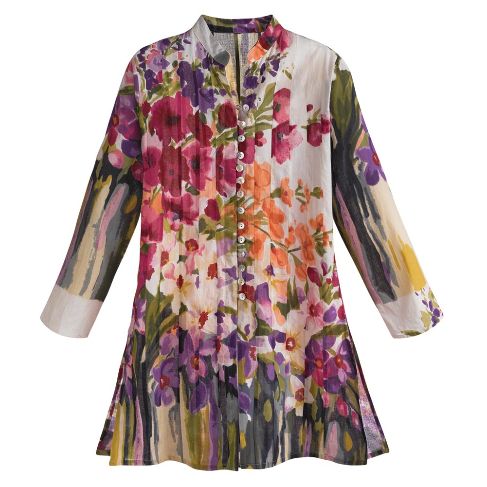 Women's Tunic Top - Purple & Pink Watercolor Flower Garden Shirt