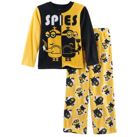 Despicable Me Boys' Minions 2-Piece Fleece Pajama Set, Sly Spies Yellow, Size: 10